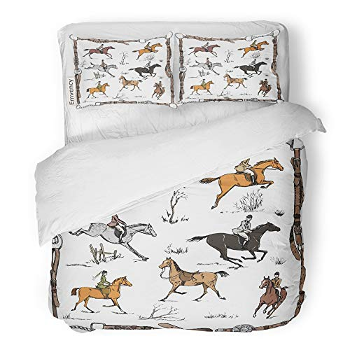 Emvency Decor Duvet Cover Set Twin Size Derby Equestrian Sport Fox Hunting with Horse Riders English on Landscape England 3 Piece Brushed Microfiber Fabric Print Bedding Set Cover -