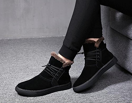 Men with high velvet warm winter boots all-match British short boots for Martin,39 black by ZRLsly (Image #3)
