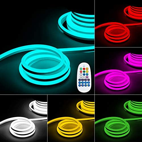 TORCHSTAR 50ft LED Neon Rope Lights Outdoor, IP67 Waterproof, 120V Max 100ft Linkable Lighting, Ambient Multi-Color Light Indoor Decor, for Bedroom, Commercial Building, RGB