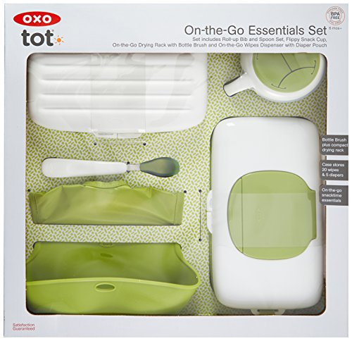 OXO Tot On-The-Go Essentials Value Set with Roll-up Bib, Feeding Spoon, Flippy Snack Cup, On-the-Go Drying Rack with Bottle Brush and  Wipes Dispenser with Pouch