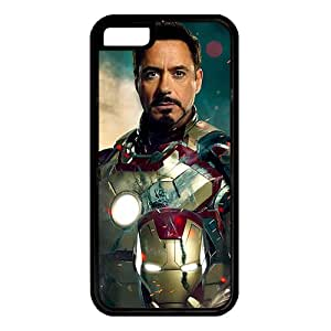iPhone 5C case ,fashion durable Black side design phone case,Rubber material phone cover ,with Tony Stark Iron Man .