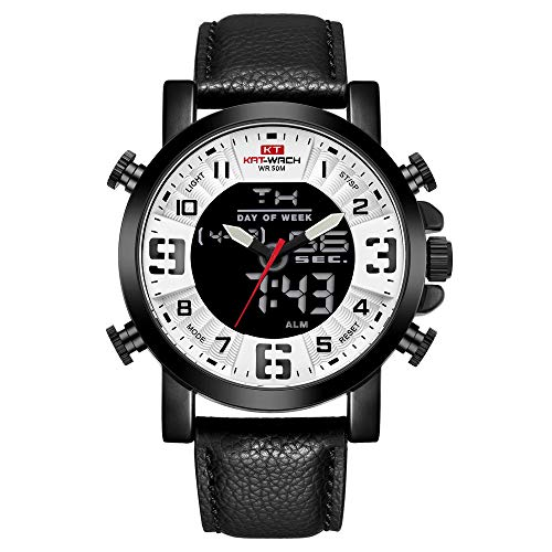 Men's Digital Analog Watch Military Multi-Function 50M Waterproof LED Backlight Dual Time Zone Leather Strap - Strap Time Dual