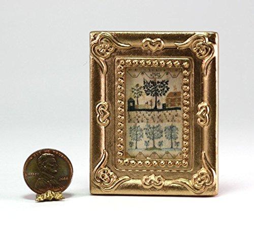 Dollhouse Miniature 1:12 Scale Artwork Gold Framed Picture of an Embroidered Sampler (Framed Sampler)