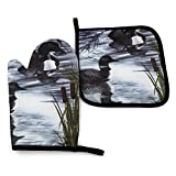 Oven Mitts and Pot Holders Sets,Many Loon Nature