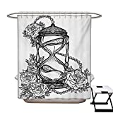 Tattoo Shower Curtain Collection by Pencil Drawing Romantic Theme Hourglass Symbol of Eternal Love with Roses Print Patterned Shower Curtain W36 x L72 Black and White
