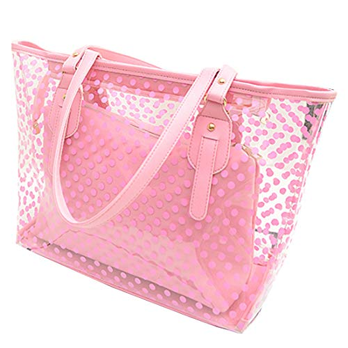 Clear PVC Beach Bag – Toy Tote Bag – Large Lightweight Market, Grocery & Picnic Tote with Oversized Pockets,2pcs Sets For Travel, Best Fit Your Cosmetic, I-phone, Champagne Color