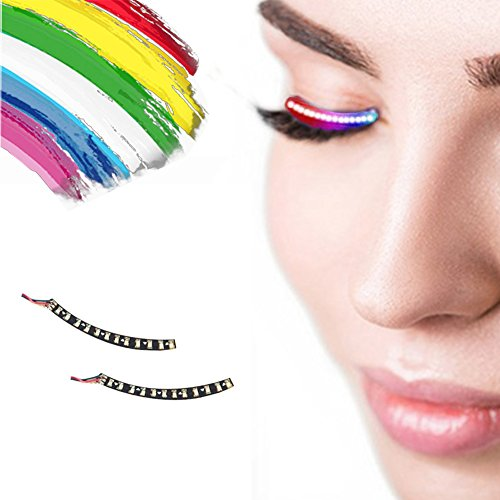 LEDHOLYT 1 pair 7 color LED Eyelashes Unisex