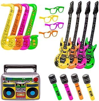 KP Pack Photocall Fiesta 17 Unidades, con 13 Hinchables más 4 Gafas Colores Neon: Amazon.es: Juguetes y juegos