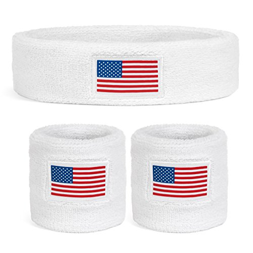 Suddora USA Headband & Wristbands Set (Includes 2 Wrist & 1 Head Sweatband) ()