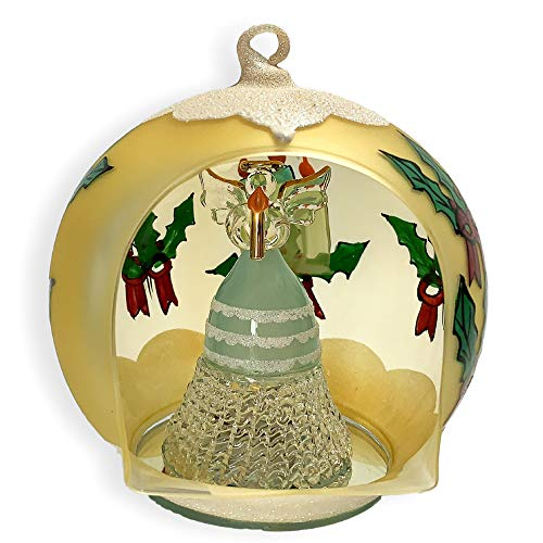 (BANBERRY DESIGNS Lighted Christmas Ornament - LED Hand Painted Glass Ball Ornament with Color Changing LED Lights - Holiday Angel Inside Holding a Candle)