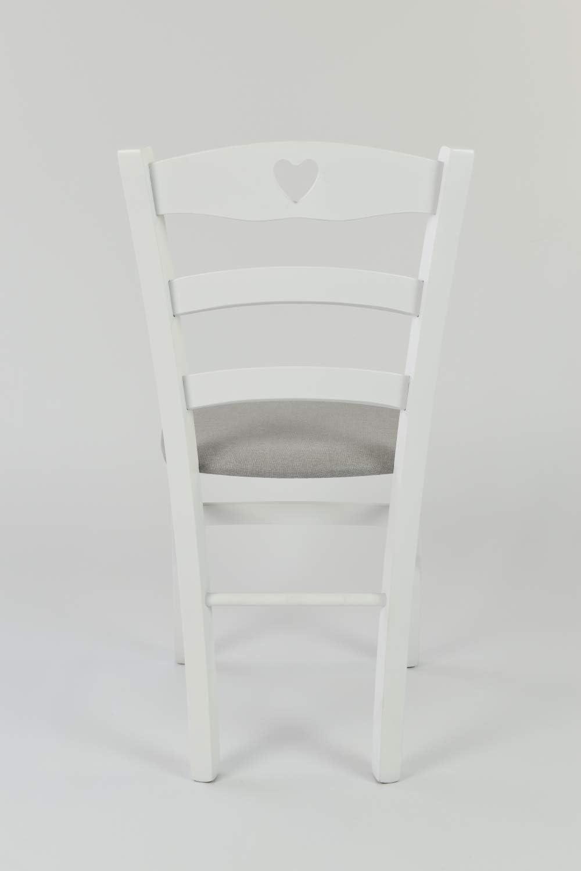 Set de 2 chaises Cuore pour la Cuisine Bar et la Salle /à Manger Tommychairs avec Structure en Bois Couleur Blanc et Assise en Tissu Couleur Gris Perle