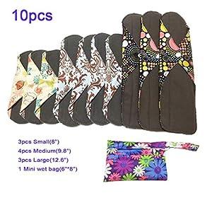 Reusable Cloth Menstrual Pads Reusable Bamboo Charcoal Sanitary Napkins, Sanitary Pads,Women Breathable Sanitary Napkins Set of 10 Pieces with 1 Mini-Wet Bag