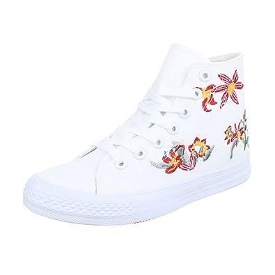 Ital-Design High-Top Sneaker Damen-Schuhe High-Top Sneakers Schnürsenkel Freizeitschuhe Weiß, Gr 39, 7975-