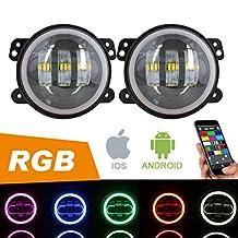 "4"" CREE LED Fog Lights with RGB Halo Angle Eye for Jeep Wrangler JK TJ LJ Led Fog Lamps Projector Len Driving Lamp Front Bumper Lights"