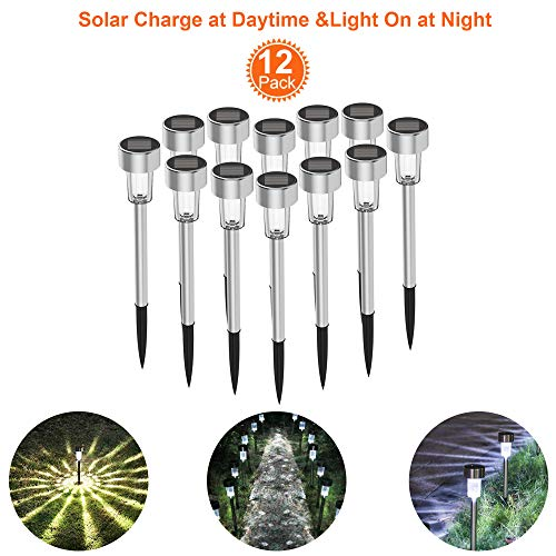 Stainless Steel LED Solar Pathway Lights Solar Lawn Light for Lawn Patio Yard Walkway Driveway Warm White shdggdft (Black)