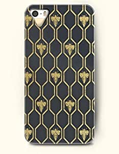 Apple iPhone 4/4S Cover Yellow Bee In Hexagon Of Dark Grey Background - Hard Back Plastic Case / Honeycomb Pattern / OOFIT Authentic