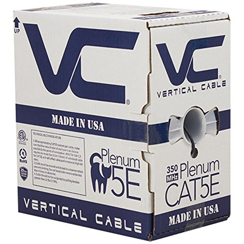 (Vertical Cable CAT5E, 350 MHz, UTP, 24AWG, 8C Solid Bare Copper, Plenum, 1000ft, Black, Bulk Ethernet Cable - Made in USA)