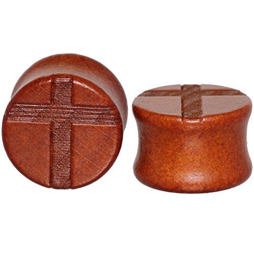 8mm 0g Latin Cross Organic Wood Flesh Tunnels Double Flared Ear Stretcher Saddle Plugs (Oasis Wood)