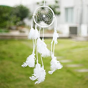 SOLEDI Dream Catcher White 40cmx11cm Handmade Traditional Circular Net Home Decor Wall Car Hanging Ornament Gift
