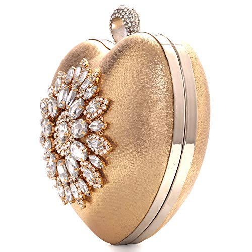 Womens Heart Shape Rhinestone Clutch Bridal Wedding Party Prom Evening Bag Compact Purse Handbag (Gold) ()