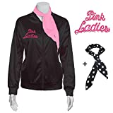 Yan Zhong 1950s Rhinestone Pink Ladies Satin Jacket with Neck Scarf T Bird Women Danny Halloween Costume Fancy Dress (Large)