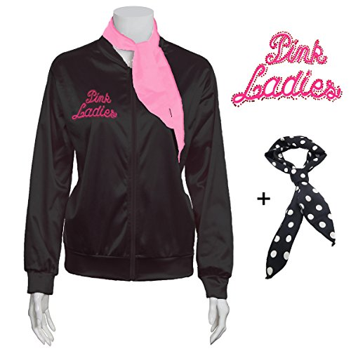 Yan Zhong 1950s Rhinestone Pink Ladies Satin Jacket with Neck Scarf T Bird Women Danny Halloween Costume Fancy Dress (Medium) -