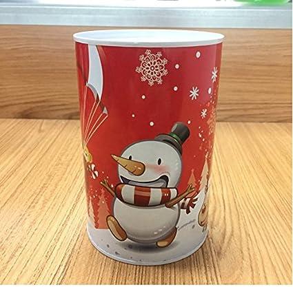 YOIL de Decoración Hucha Cajas de Ahorro Regalo Christmas Money Bank cilíndrica hojalata Can Piggy Bank