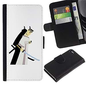 LASTONE PHONE CASE / Lujo Billetera de Cuero Caso del tirón Titular de la tarjeta Flip Carcasa Funda para Apple Iphone 4 / 4S / samurai swordsman Japanese white