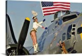 Christian Kieffer Premium Thick-Wrap Canvas Wall Art Print entitled 1940's style majorette pin-up girl on a B-17 bomber with an American flag 48''x32''