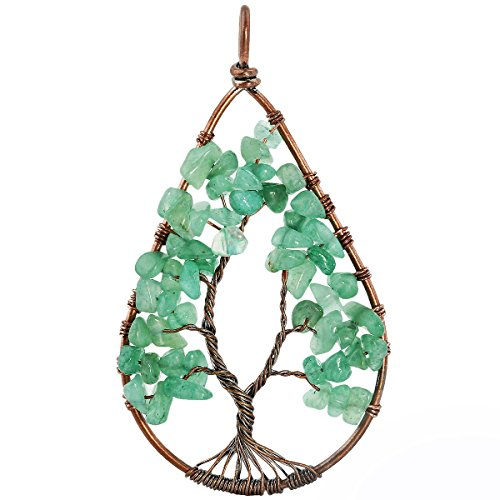 SUNYIK Green Aventurine Tumbled Stone Tree of Life Teardrop Pendant Necklace for Unisex ()