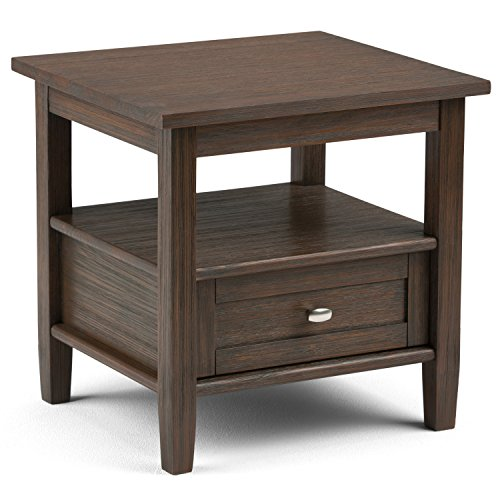 Simpli Home AXWSH002FB Warm Shaker Solid Wood 20 inch wide Rustic End Side Table in Farmhouse Brown