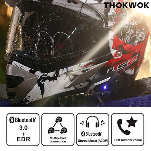 Thokwok Motorcycle Bluetooth Headset,BT-S3 1000m Helmet Bluetooth Communication Systems Ski Helmet Headphones Bluetooth Intercom Walkie-Talkie for Snowmobile,Up to 3 Riders(Pack 1)