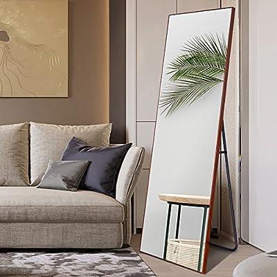 NeuType Full Length Mirror Floor Mirror with Standing Holder Bedroom/Locker Room Standing/Hanging Mirror Walnut Wood Dressing Mirror (Walnut Wood) -  - mirrors-bedroom-decor, bedroom-decor, bedroom - 516w64PgcjL. SS400  -