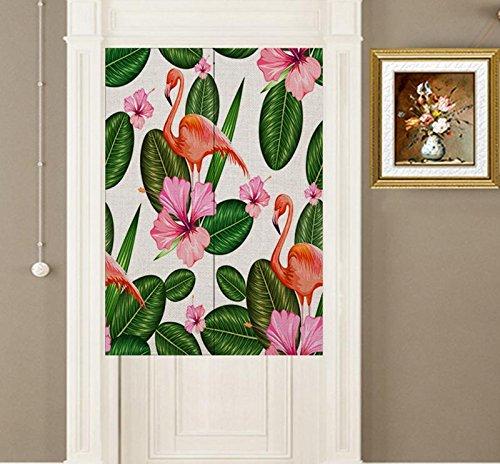 YJBear Cotton Linen North European Pink Flower Flamingo Bird Printed Doorway Curtain Home Decoration Door Curtain Bedroom Curtain Kitchen Curtain 2 Panels Set,33.46'' X 35.43''