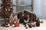 Wood Creche Nativity Scene Natural Wood Finish Moss Flocked Country Christmas Holiday Home D