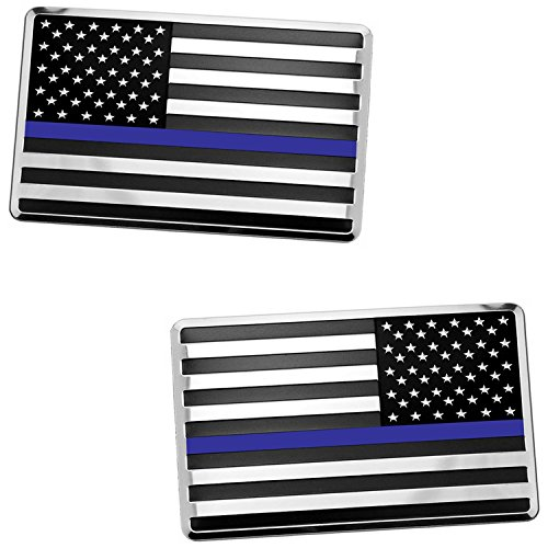 2x USA American Embossed Stainless Steel Metal Flag for Cars, Trucks Show Support of Police and Law Enforcement Officers (3.12
