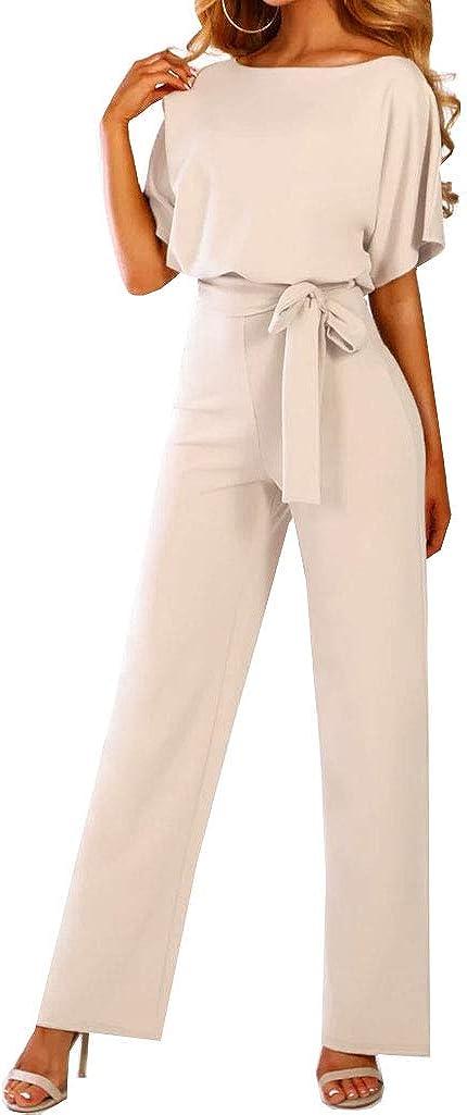 Walant Femmes Combinaison Manches Courtes Col Rond Couleur Unie Barboteuse Jumpsuit D/ét/é Chic /Él/égant Slim Pantalon Loose Casual Combishort avec Ceinture