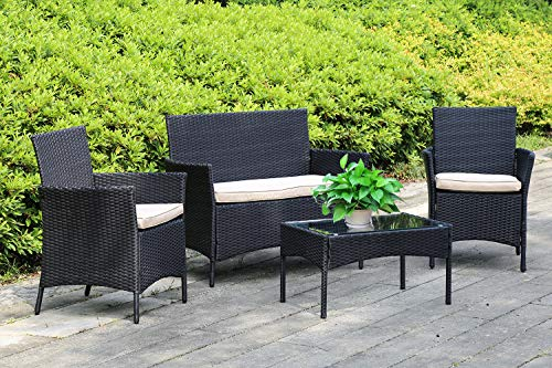 FDW Wicker Furniture 4 Piece Patio Outdoor Rattan Conversation Bistro Set Coffee Table for Yard or Backyard, Sofa-4Pcs, Black