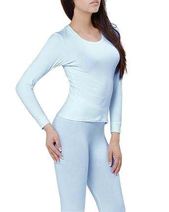 e311669d KalvonFu Women's Cotton Round Neck Long John Thermal Underwear Sets (S,  Blue)