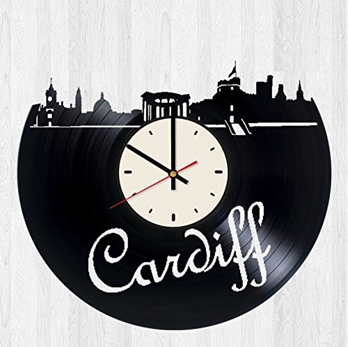 Skyline Cardiff Wales vinyl record wall clock artwork gift idea for birthday, christmas, women, men, friends, girlfriend boyfriend and teens - living kids room nursery