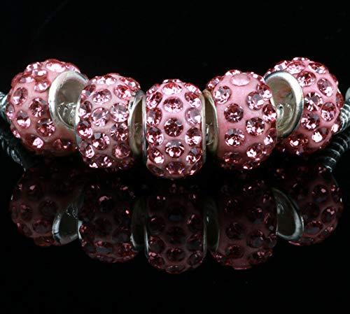 (5PCS Wholesale Pink Charms Beads Necklace European charm Bracelet Chain N#720)
