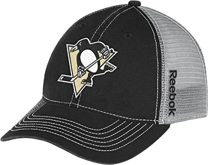 cheaper 38e84 5e021 Image Unavailable. Image not available for. Color  Reebok Pittsburgh  Penguins NHL Center Ice Slouch Mesh Hat