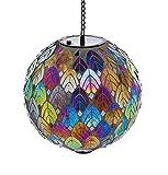 "Evergreen Garden Feathered Mosaic Hanging Glass Solar Gazing Ball - 8""L x 8""W x 13""H."