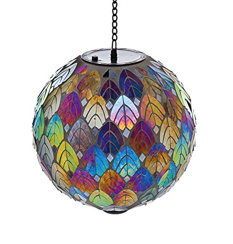 "Evergreen Garden Feathered Mosaic Hanging Glass Solar Gazing Ball - 8""L x 8""W x 13""H. by Evergreen Garden"