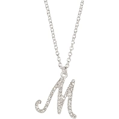 Amazon heirloom finds crystal letter m initial monogram pendant heirloom finds crystal letter m initial monogram pendant necklace 18quot chain plus extender aloadofball Gallery