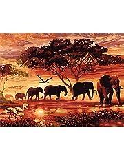 Diamond Painting Kits for Kids, 5D Diamant Schilderij voor volwassenen Olifanten Rhinestone Embroidery Borduurpakket Voor Kind Supply Arts Craft Canvas Wall Stickers Woonkamer decoratie 40x30 cm