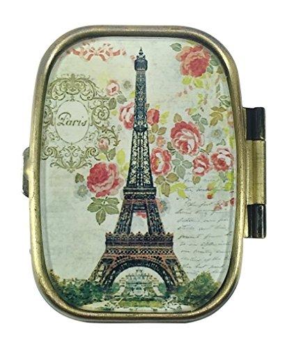 Art Trinket - Value Arts Decorative Metal Pill Box - Paris Eiffel Tower - 2 Compartment - 2.25 Wide
