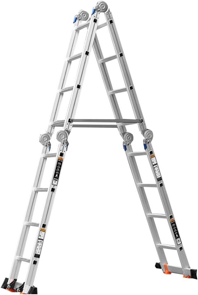 Escalera extensible/ Escalera telescópica Escalera de andamio Escalera de Tijera Industrial Escalera de Seguridad Extensible Multifunción Plegable y Liviana Bisagras de Bloqueo , 4 M 13 Ft: Amazon.es: Hogar