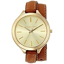 Michael Kors Slim Runway MK2256 Women's Wrist Watches, Gold Dial