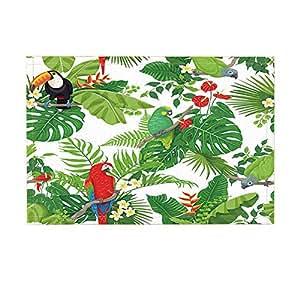 nymb Tropic selva hojas decoración, colorido loros y tucán aves sentado en ramas de baño Rugs, antideslizante Felpudo piso Entryways–Felpudo para interiores Felpudo, Kids alfombrilla de baño, 15,7x 23.6in, accesorios de baño